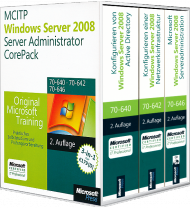 MCITP / MCSA Windows Server 2008 R2 Server Administrator CorePack, ISBN: 978-3-86645-994-6, Best.Nr. MS-5994, erschienen 01/2012, € 179,00